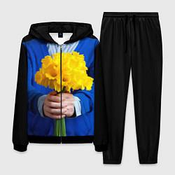 Костюм мужской Цветы в руках цвета 3D-черный — фото 1