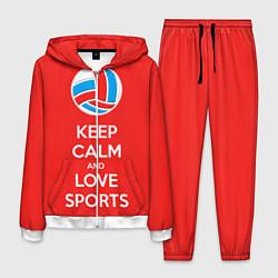 Костюм мужской Keep Calm & Love Volleyball цвета 3D-белый — фото 1