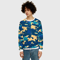 Свитшот мужской Камуфляж: голубой/желтый цвета 3D-белый — фото 2