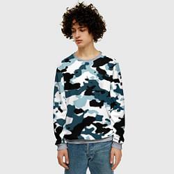 Свитшот мужской Камуфляж зимний: пятна цвета 3D-меланж — фото 2