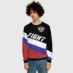Свитшот мужской Fight Russia цвета 3D-черный — фото 2
