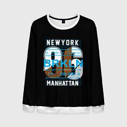 Свитшот мужской New York: Manhattan 86 цвета 3D-белый — фото 1