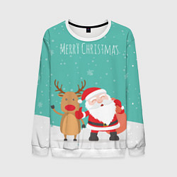 Свитшот мужской Merry Christmas цвета 3D-белый — фото 1
