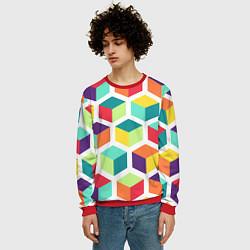 Свитшот мужской 3D кубы цвета 3D-красный — фото 2