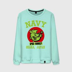 Свитшот хлопковый мужской Navy: Po-1967 цвета мятный — фото 1