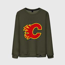 Свитшот хлопковый мужской Calgary Flames цвета хаки — фото 1