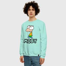 Свитшот хлопковый мужской Moby цвета мятный — фото 2
