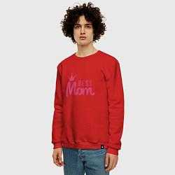 Свитшот хлопковый мужской Best Mom цвета красный — фото 2