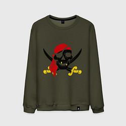 Свитшот хлопковый мужской Пиратская футболка цвета хаки — фото 1