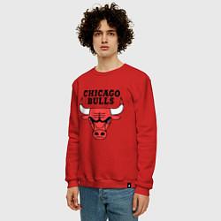 Свитшот хлопковый мужской Chicago Bulls цвета красный — фото 2