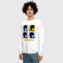 Свитшот хлопковый мужской The Beatles: pop-art цвета белый — фото 2