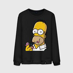 Свитшот хлопковый мужской Гомер с Пончиком цвета черный — фото 1