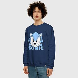 Свитшот хлопковый мужской Соник цвета тёмно-синий — фото 2