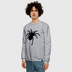 Свитшот хлопковый мужской Черный паук цвета меланж — фото 2