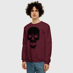 Свитшот хлопковый мужской Злобный череп цвета меланж-бордовый — фото 2