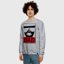 Свитшот хлопковый мужской Bad Obey цвета меланж — фото 2