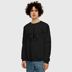 Свитшот хлопковый мужской CALVIN KLEIN цвета черный — фото 2
