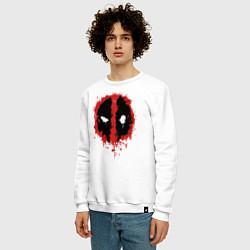 Свитшот хлопковый мужской Deadpool logo цвета белый — фото 2