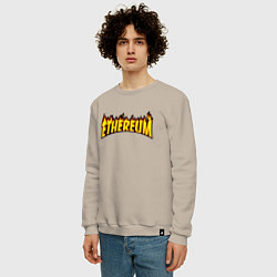 Свитшот хлопковый мужской ETHEREUM x THRASHER цвета миндальный — фото 2