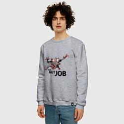 Свитшот хлопковый мужской The nut job цвета меланж — фото 2