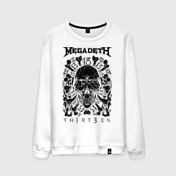 Свитшот хлопковый мужской Megadeth Thirteen цвета белый — фото 1