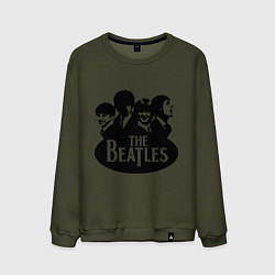 Свитшот хлопковый мужской The Beatles Band цвета хаки — фото 1
