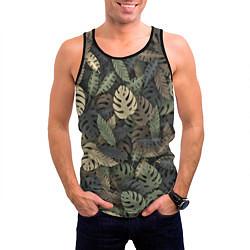 Майка-безрукавка мужская Тропический камуфляж цвета 3D-черный — фото 2