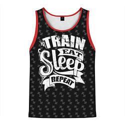 Майка-безрукавка мужская Train Eat Sleep Repeat цвета 3D-красный — фото 1
