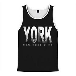Майка-безрукавка мужская New York City цвета 3D-белый — фото 1