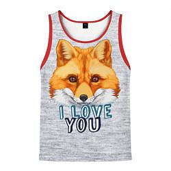 Майка-безрукавка мужская Милая лисичка! цвета 3D-красный — фото 1