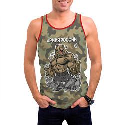 Майка-безрукавка мужская Армия России: ярость медведя цвета 3D-красный — фото 2