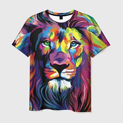 Футболка мужская Красочный лев цвета 3D-принт — фото 1