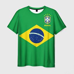 Футболка мужская Сборная Бразилии: зеленая цвета 3D-принт — фото 1