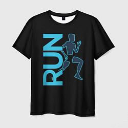 Мужская 3D-футболка с принтом RUN: Black Style, цвет: 3D, артикул: 10144294703301 — фото 1