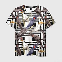 Мужская 3D-футболка с принтом Попугаи Какаду, цвет: 3D, артикул: 10173459103301 — фото 1