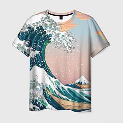 Футболка мужская Большая волна в канагаве цвета 3D — фото 1