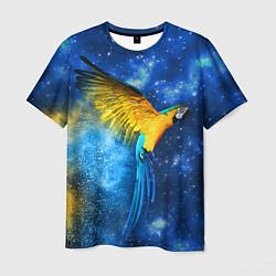 Мужская 3D-футболка с принтом Космический попугай, цвет: 3D, артикул: 10065277403301 — фото 1