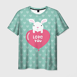 Мужская 3D-футболка с принтом Rabbit: Love you, цвет: 3D, артикул: 10081990703301 — фото 1