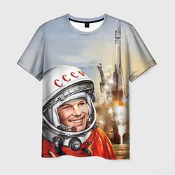 Футболка мужская Гагарин взлетает цвета 3D-принт — фото 1
