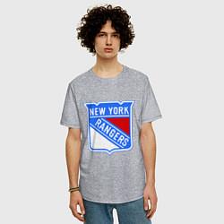 Футболка оверсайз мужская New York Rangers цвета меланж — фото 2