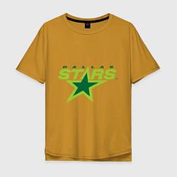 Футболка оверсайз мужская Dallas Stars цвета горчичный — фото 1