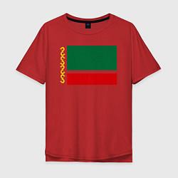 Мужская удлиненная футболка с принтом Чечня: флаг, цвет: красный, артикул: 10011926905753 — фото 1