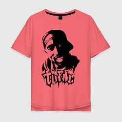 Мужская удлиненная футболка с принтом 2pac, цвет: коралловый, артикул: 10012602905753 — фото 1