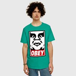Футболка оверсайз мужская OBEY Face цвета зеленый — фото 2