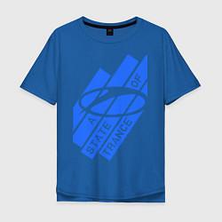 Мужская удлиненная футболка с принтом A state of trance, цвет: синий, артикул: 10014954905753 — фото 1