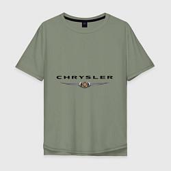 Футболка оверсайз мужская Chrysler logo цвета авокадо — фото 1