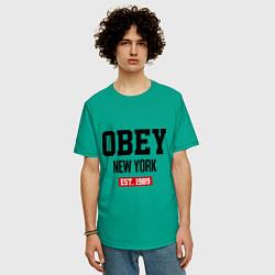 Футболка оверсайз мужская Obey Est. 1989 цвета зеленый — фото 2