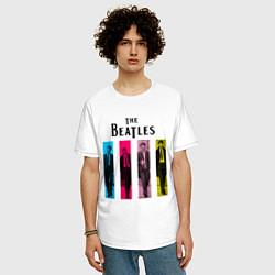 Футболка оверсайз мужская Walking Beatles цвета белый — фото 2