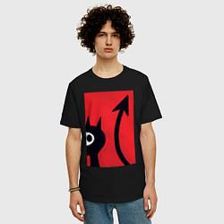Футболка оверсайз мужская Дьявольская Люси цвета черный — фото 2