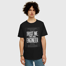 Футболка оверсайз мужская I'm an Engineer цвета черный — фото 2